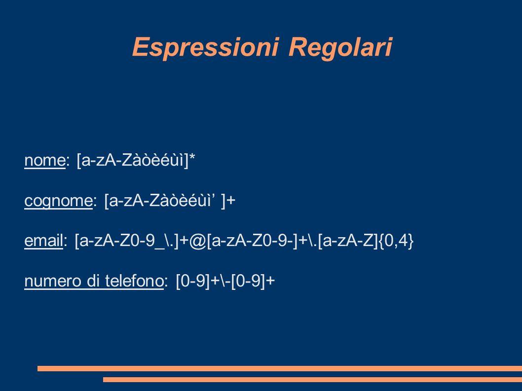 Espressioni Regolari nome: [a-zA-Zàòèéùì]* cognome: [a-zA-Zàòèéùì' ]+